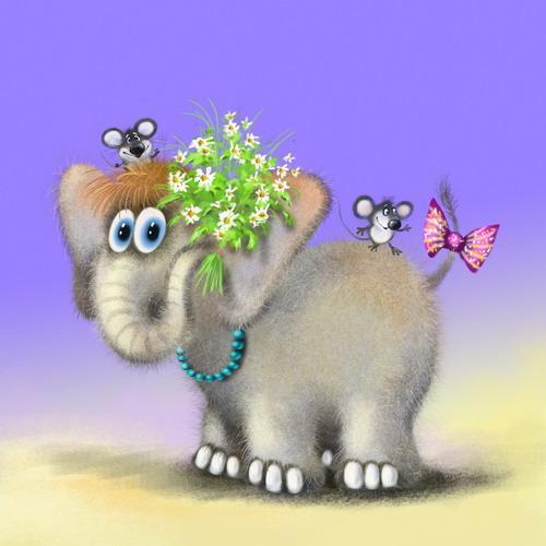 Открытка с днем рождения слона, открытка мишка розочкой